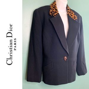 Christian Dior Animal Print Trim Blazer